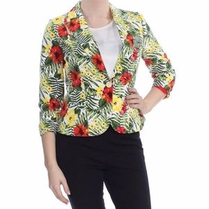 Xoxo Tropical Juniors' Ruched-Sleeve Blazer XL